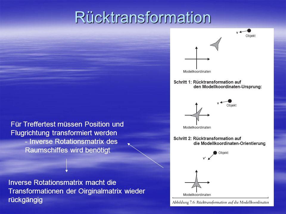RücktransformationFür Treffertest müssen Position und Flugrichtung transformiert werden. - Inverse Rotationsmatrix des Raumschiffes wird benötigt.