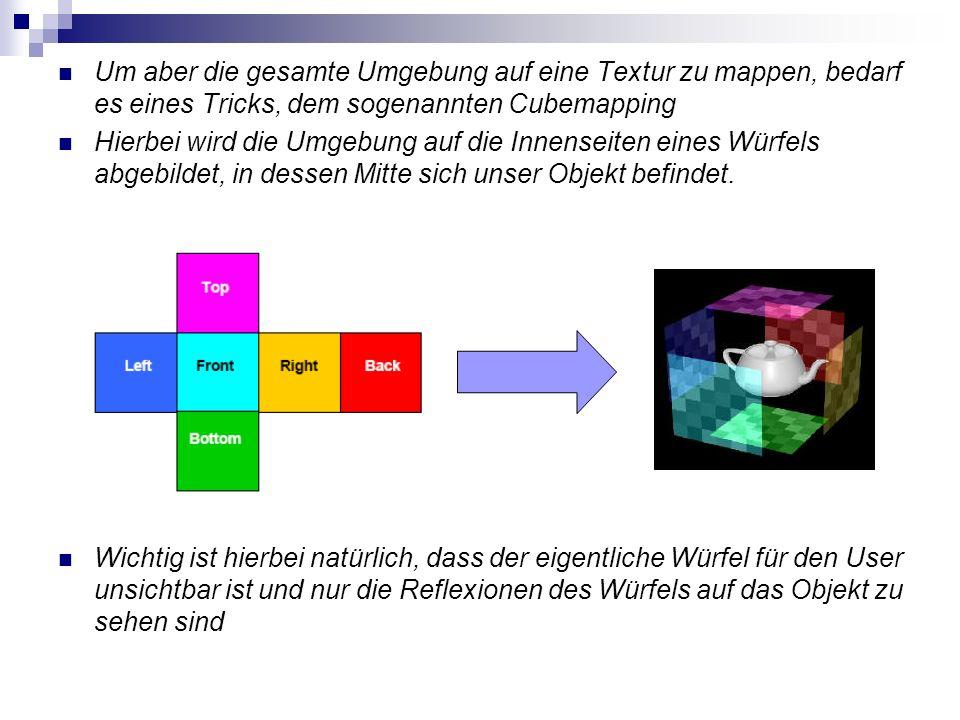 Um aber die gesamte Umgebung auf eine Textur zu mappen, bedarf es eines Tricks, dem sogenannten Cubemapping