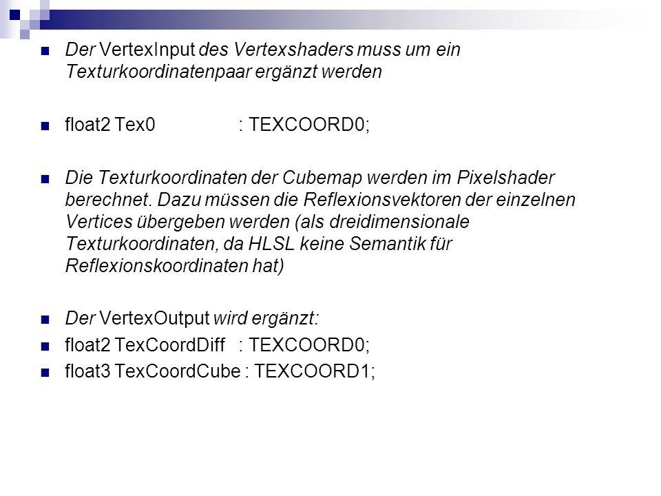 Der VertexInput des Vertexshaders muss um ein Texturkoordinatenpaar ergänzt werden