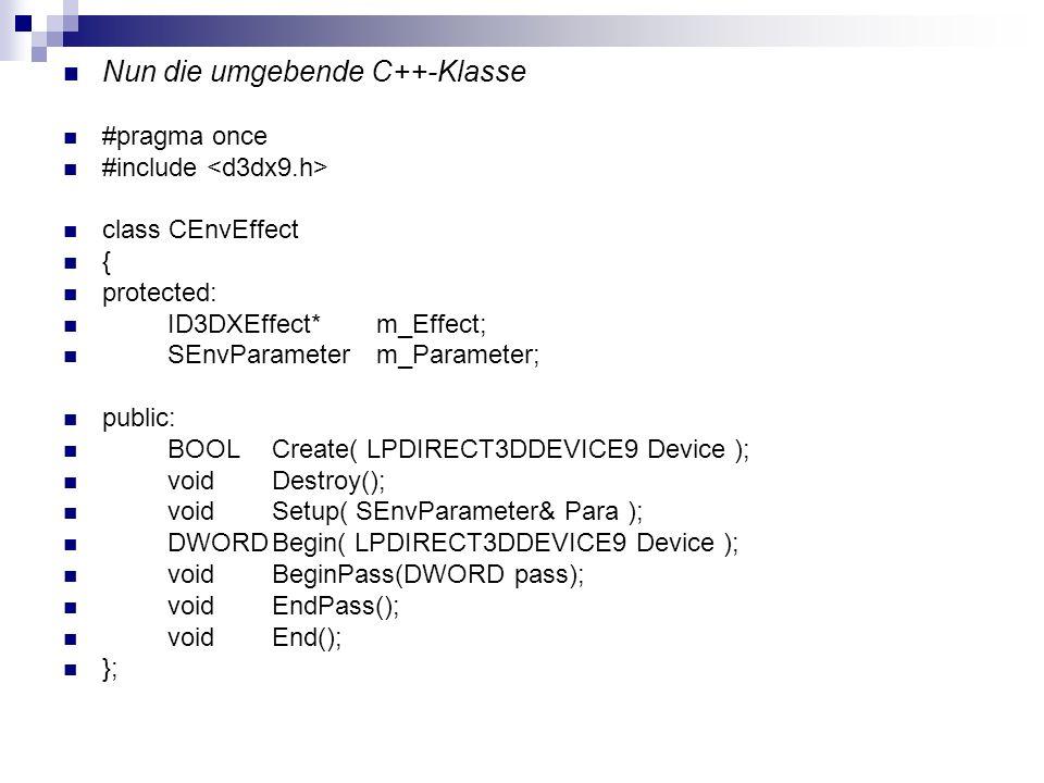 Nun die umgebende C++-Klasse