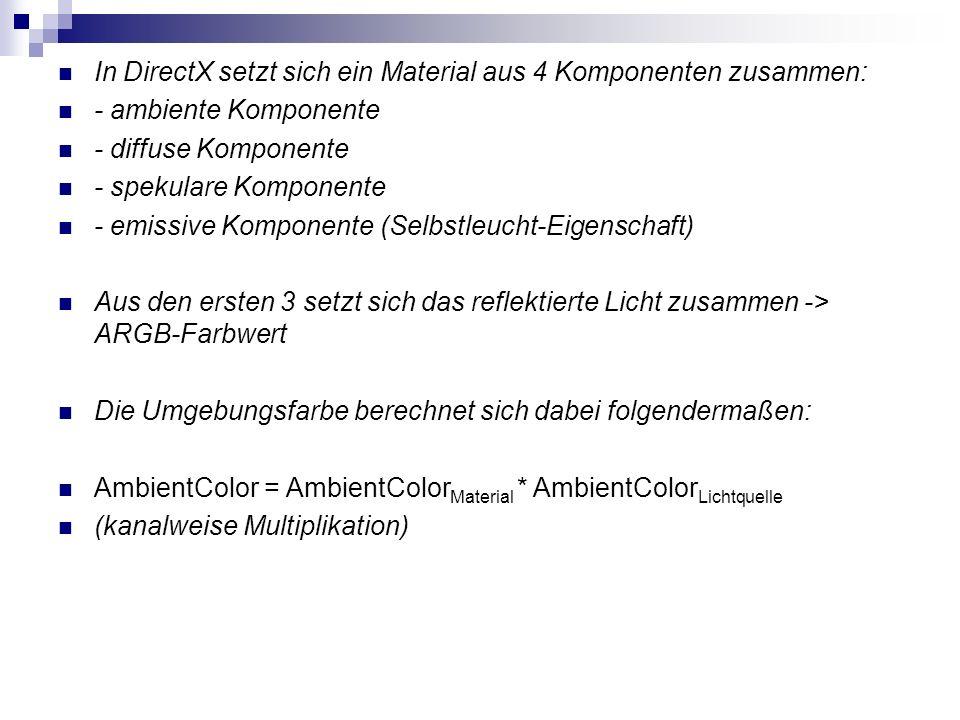 In DirectX setzt sich ein Material aus 4 Komponenten zusammen: