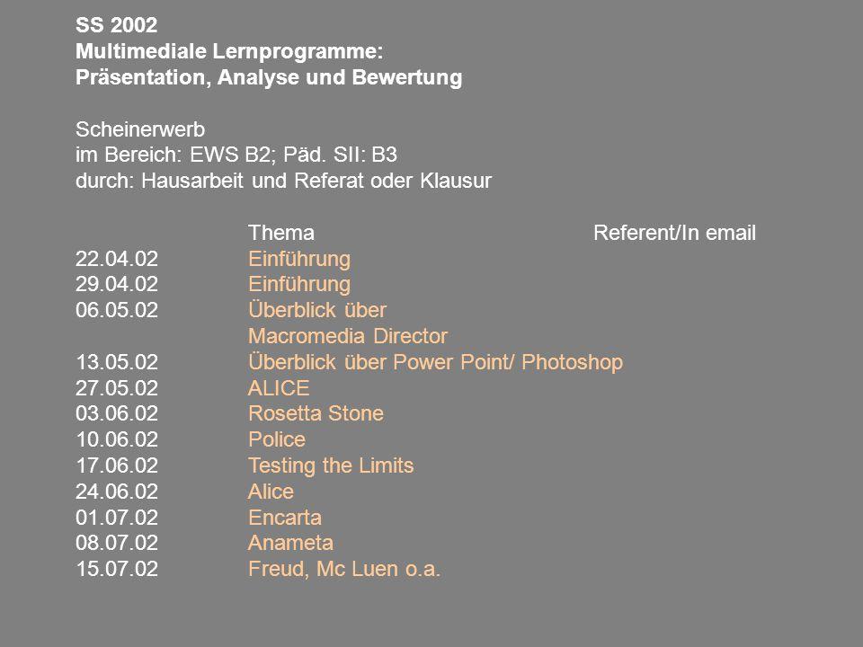 SS 2002 Multimediale Lernprogramme: Präsentation, Analyse und Bewertung. Scheinerwerb. im Bereich: EWS B2; Päd. SII: B3.