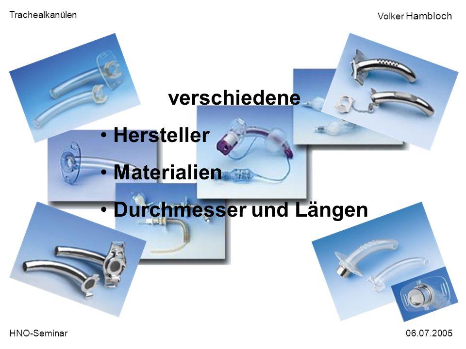 verschiedene Hersteller Materialien Durchmesser und Längen