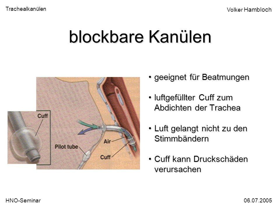 blockbare Kanülen geeignet für Beatmungen