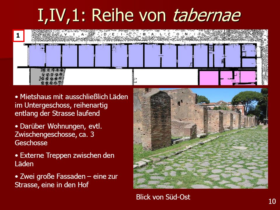 I,IV,1: Reihe von tabernae