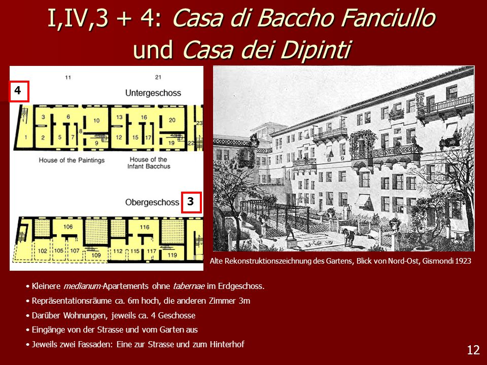 I,IV,3 + 4: Casa di Baccho Fanciullo und Casa dei Dipinti