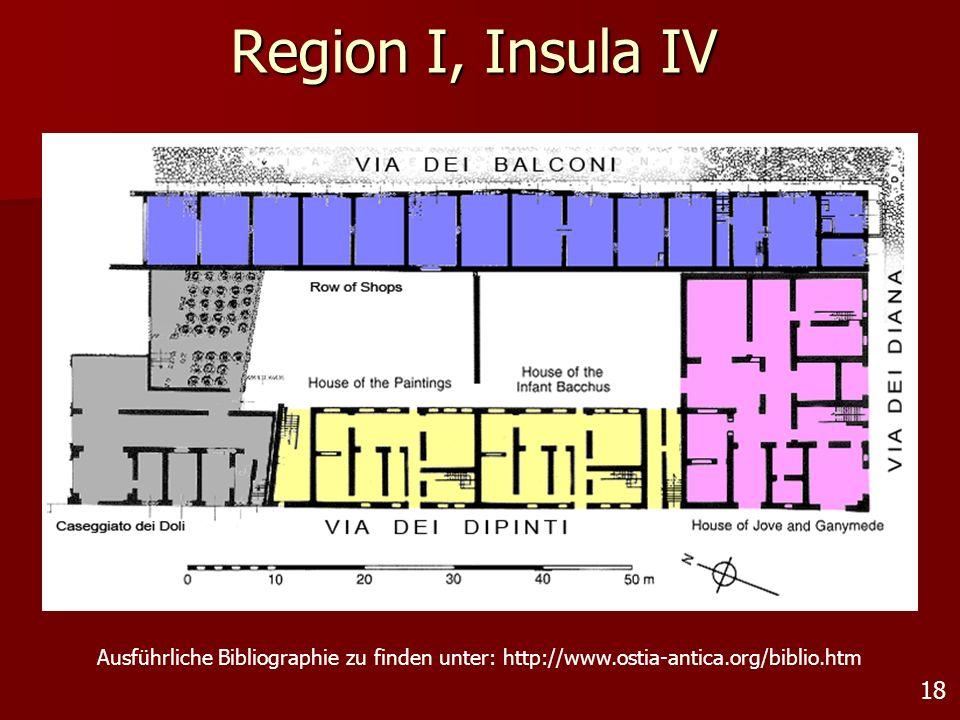 Region I, Insula IV Ausführliche Bibliographie zu finden unter: http://www.ostia-antica.org/biblio.htm.