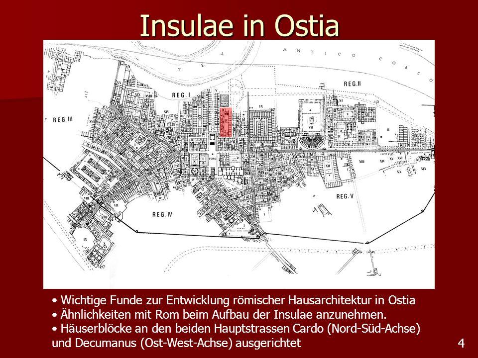 Insulae in Ostia Wichtige Funde zur Entwicklung römischer Hausarchitektur in Ostia. Ähnlichkeiten mit Rom beim Aufbau der Insulae anzunehmen.