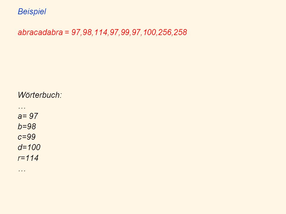 Beispiel abracadabra = 97,98,114,97,99,97,100,256,258 Wörterbuch: … a= 97 b=98 c=99 d=100 r=114