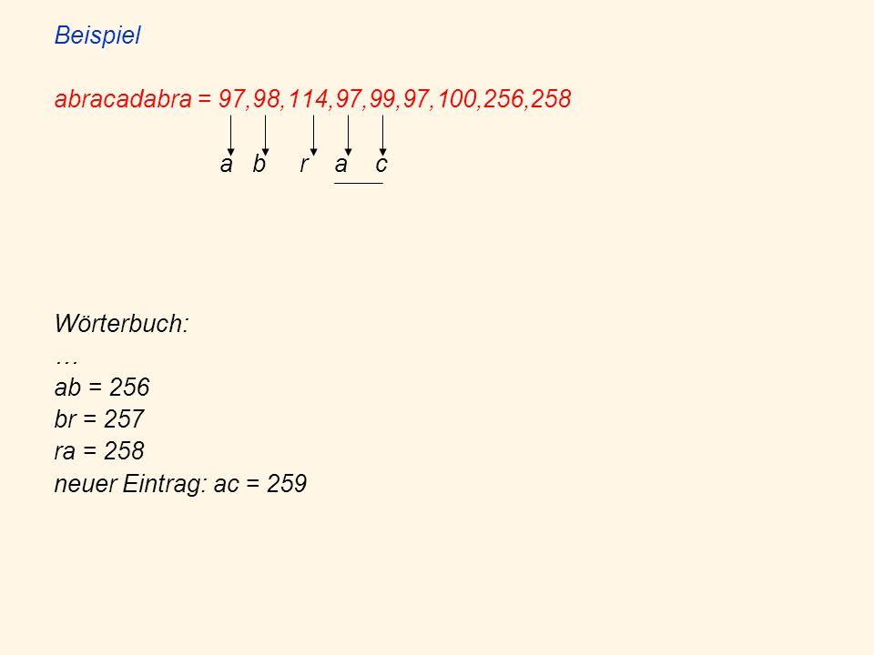 Beispiel abracadabra = 97,98,114,97,99,97,100,256,258. a b r a c. Wörterbuch: … ab = 256.