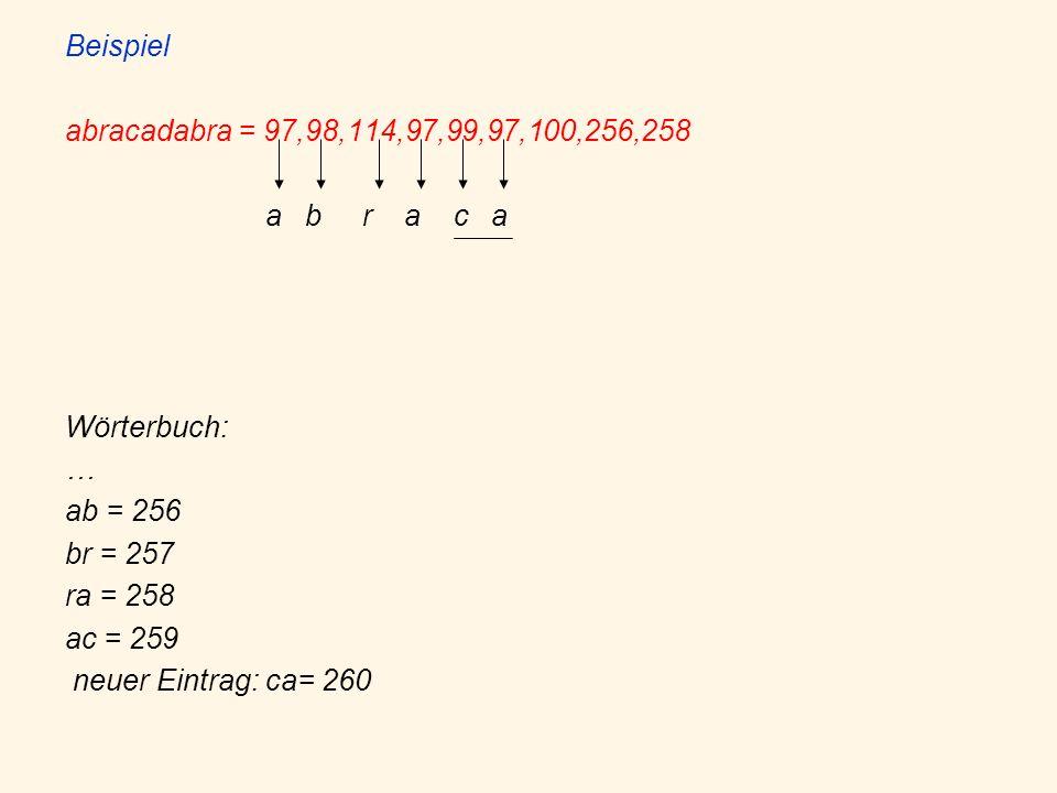 Beispiel abracadabra = 97,98,114,97,99,97,100,256,258. a b r a c a. Wörterbuch: … ab = 256.