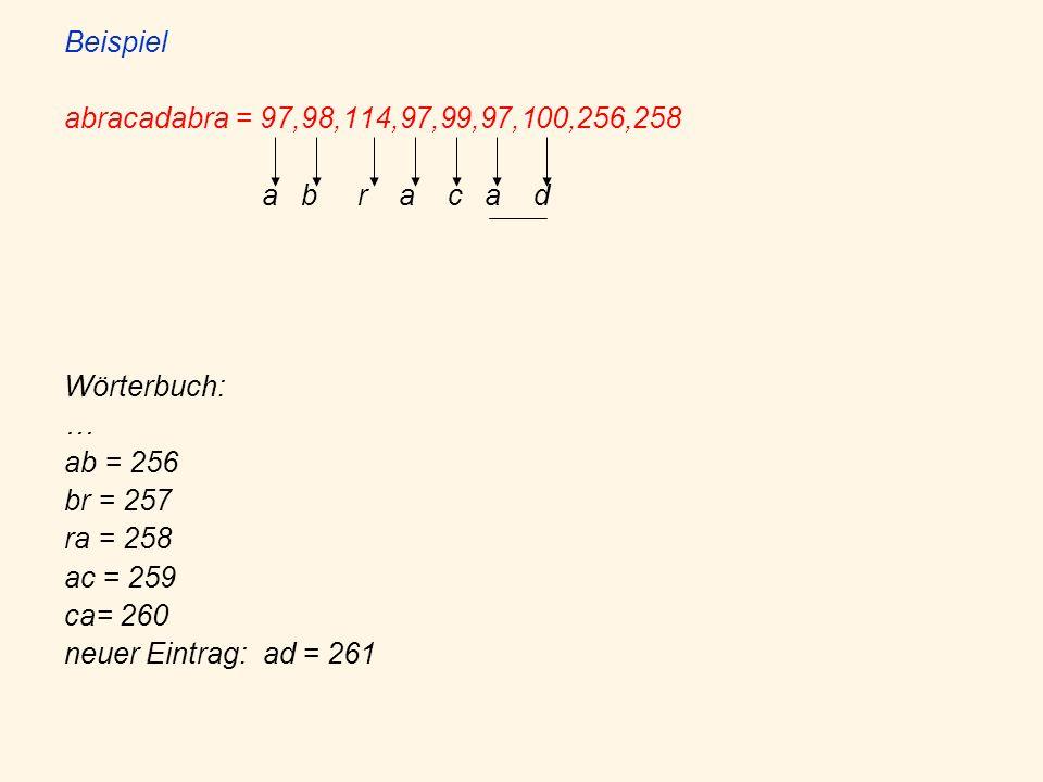 Beispiel abracadabra = 97,98,114,97,99,97,100,256,258. a b r a c a d. Wörterbuch: