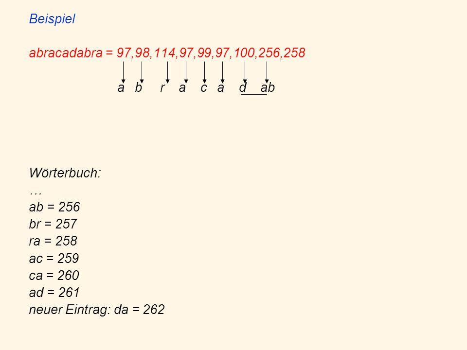 Beispiel abracadabra = 97,98,114,97,99,97,100,256,258. a b r a c a d ab. Wörterbuch: