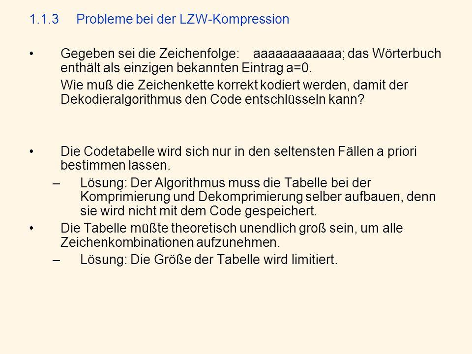 1.1.3 Probleme bei der LZW-Kompression