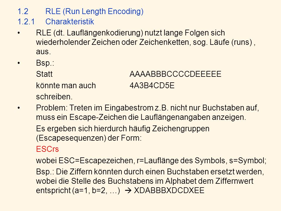 1.2 RLE (Run Length Encoding)
