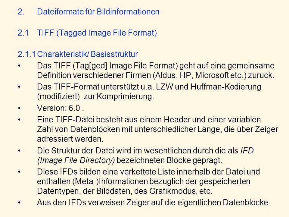 Dateiformate für Bildinformationen