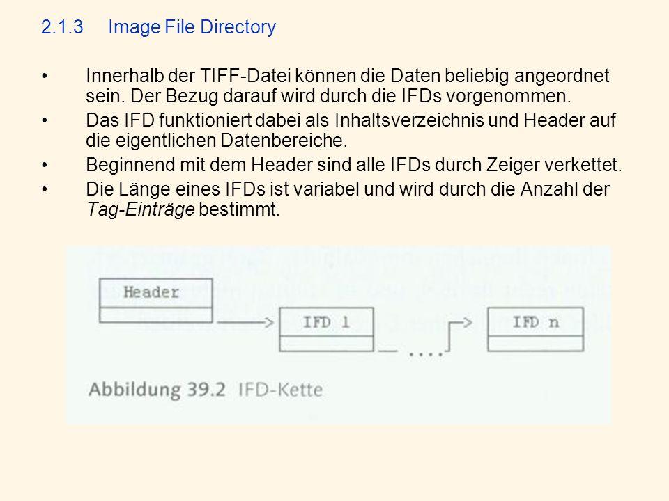 2.1.3 Image File Directory Innerhalb der TIFF-Datei können die Daten beliebig angeordnet sein. Der Bezug darauf wird durch die IFDs vorgenommen.