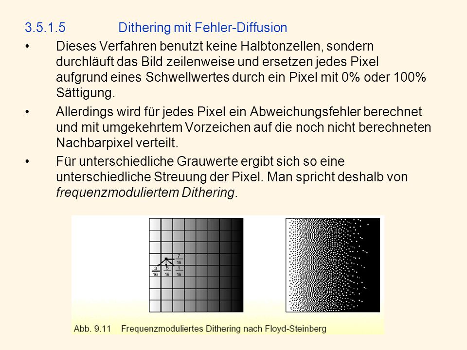 3.5.1.5 Dithering mit Fehler-Diffusion