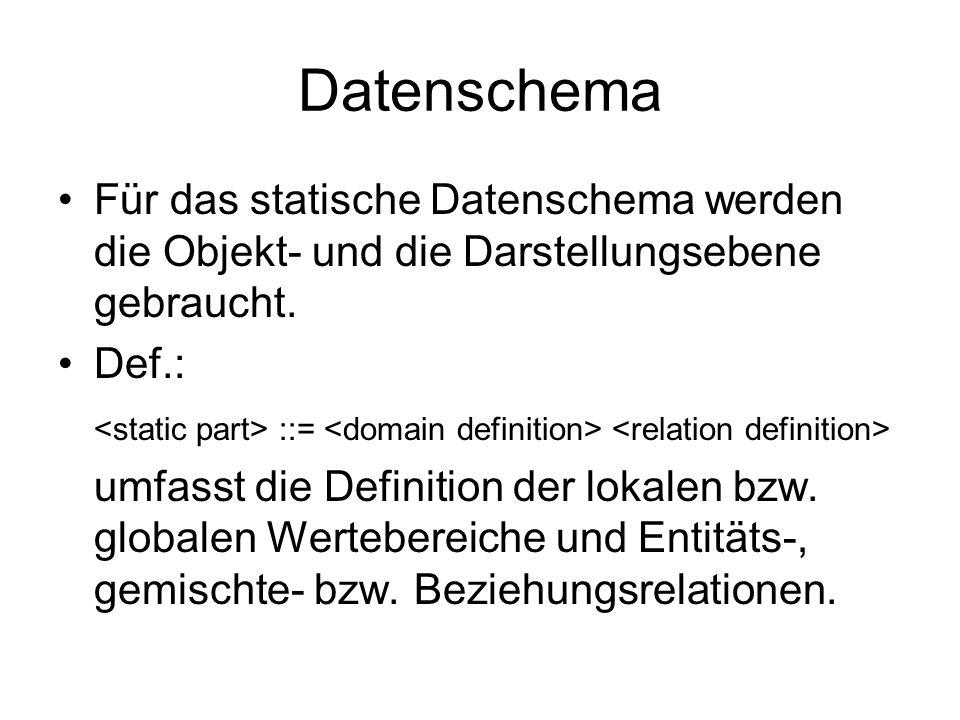 Datenschema Für das statische Datenschema werden die Objekt- und die Darstellungsebene gebraucht. Def.:
