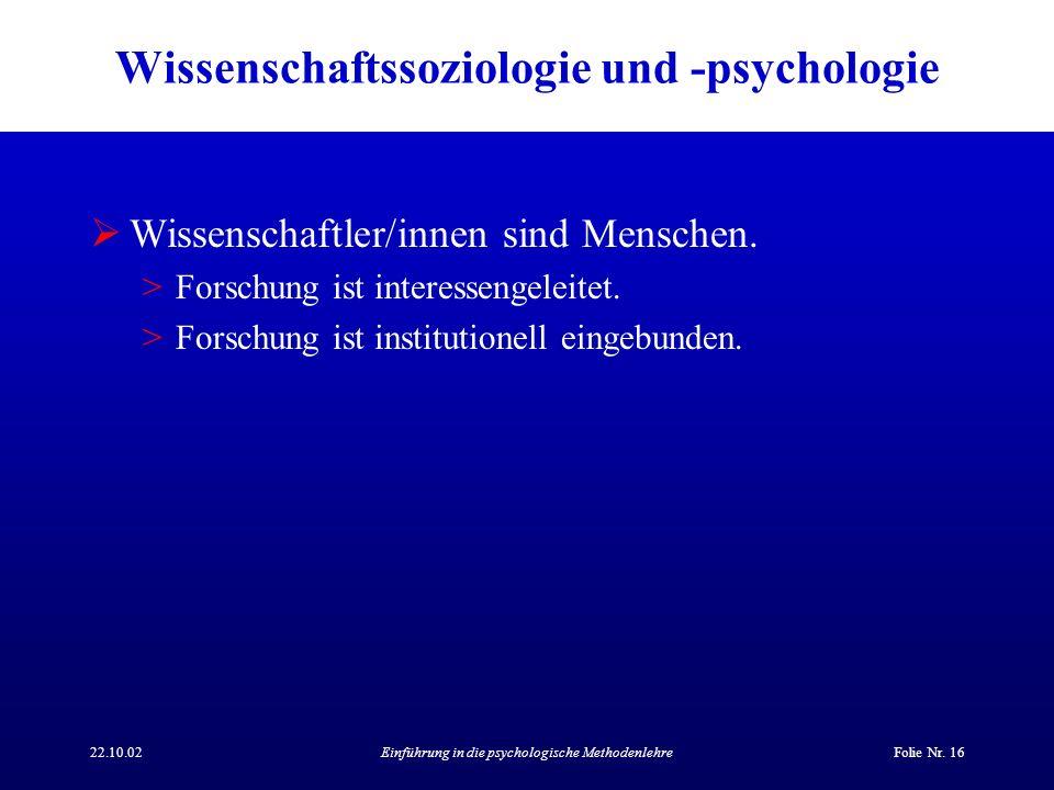 Wissenschaftssoziologie und -psychologie