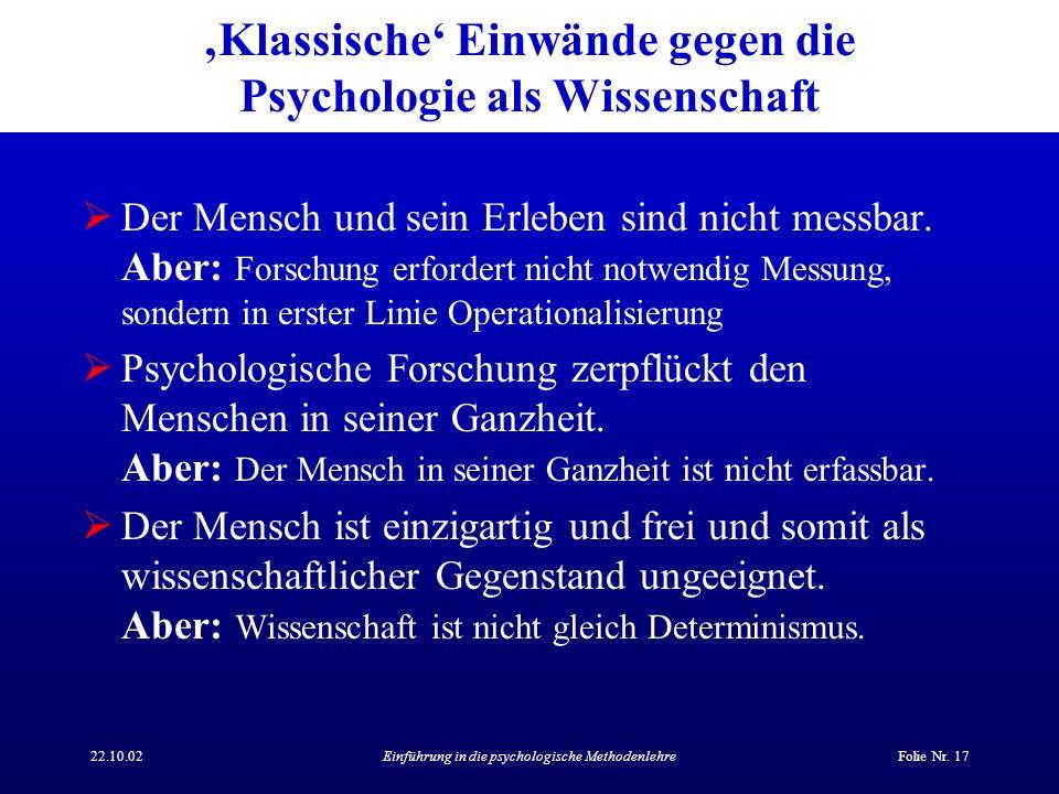 'Klassische' Einwände gegen die Psychologie als Wissenschaft