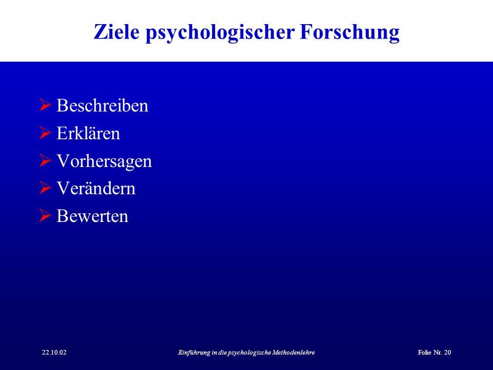 Ziele psychologischer Forschung