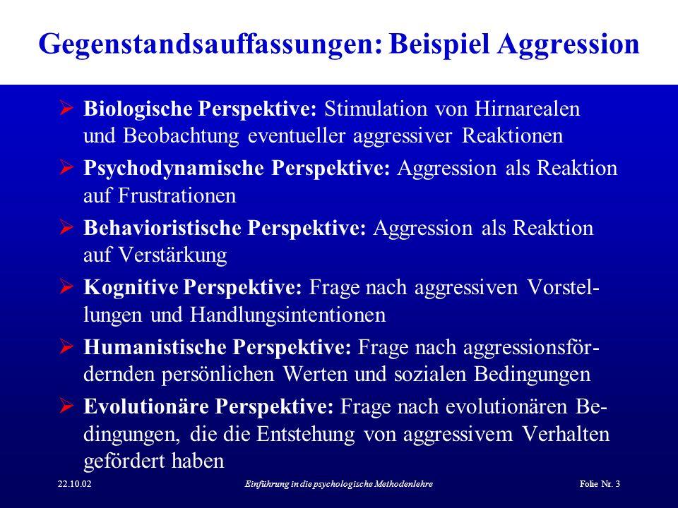 Gegenstandsauffassungen: Beispiel Aggression