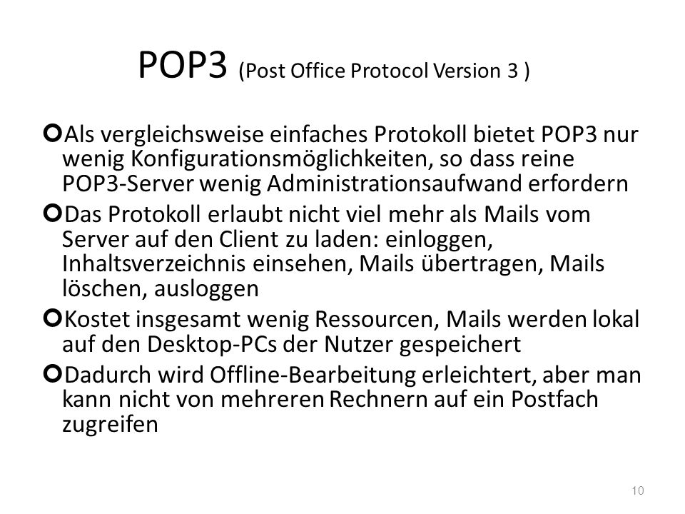 POP3 (Post Office Protocol Version 3 )