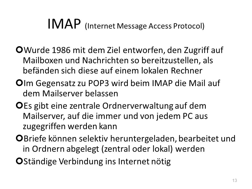 IMAP (Internet Message Access Protocol)