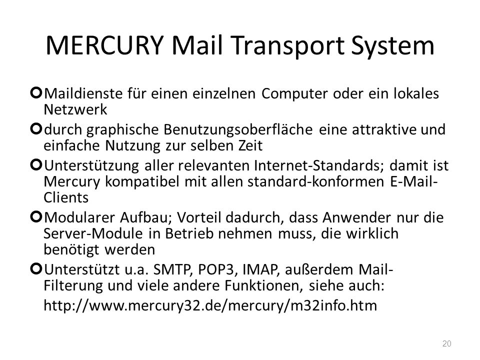 MERCURY Mail Transport System