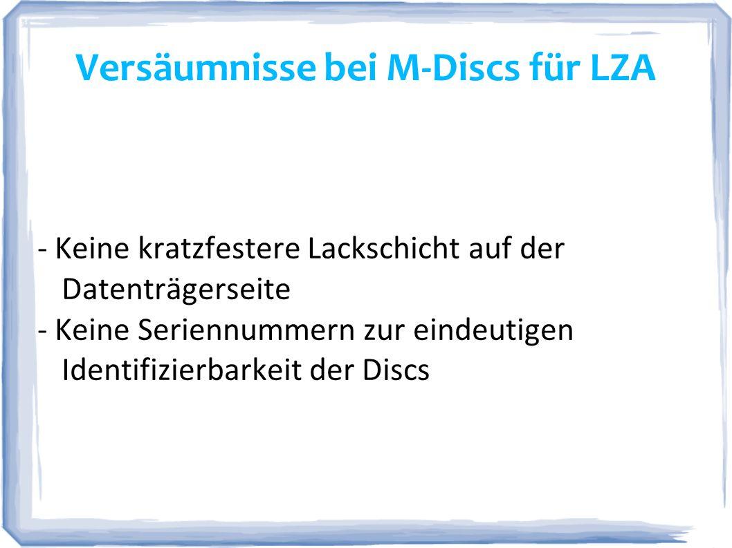 Versäumnisse bei M-Discs für LZA
