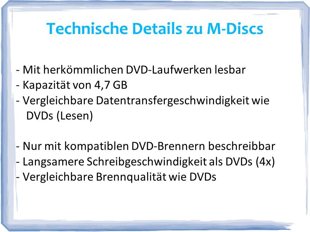Technische Details zu M-Discs
