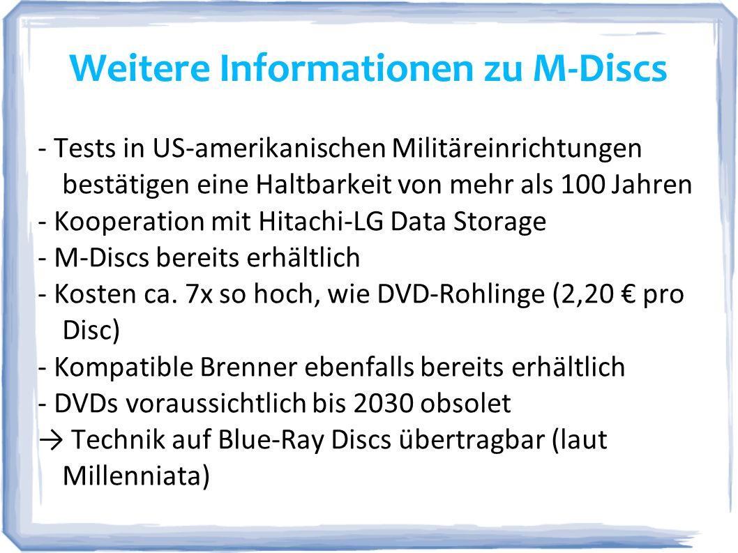 Weitere Informationen zu M-Discs