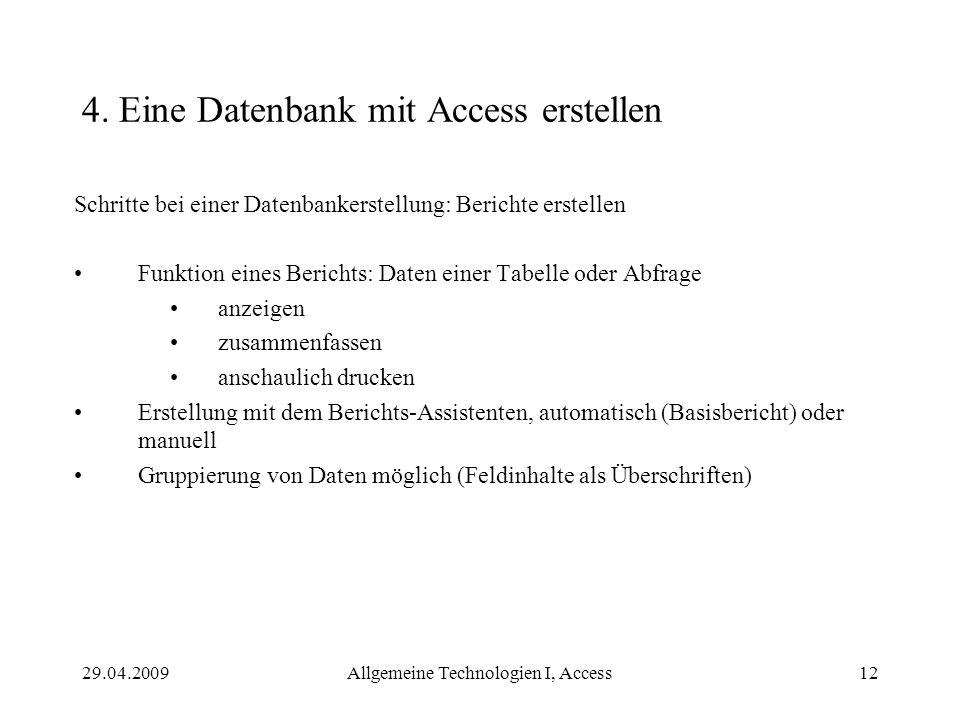 4. Eine Datenbank mit Access erstellen