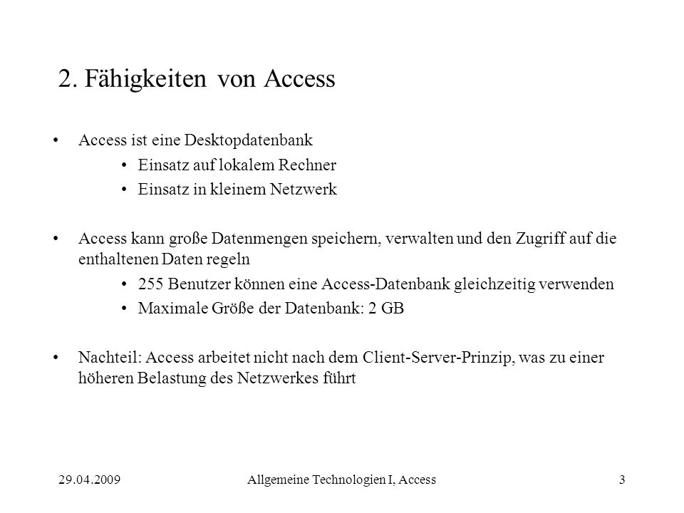 2. Fähigkeiten von Access