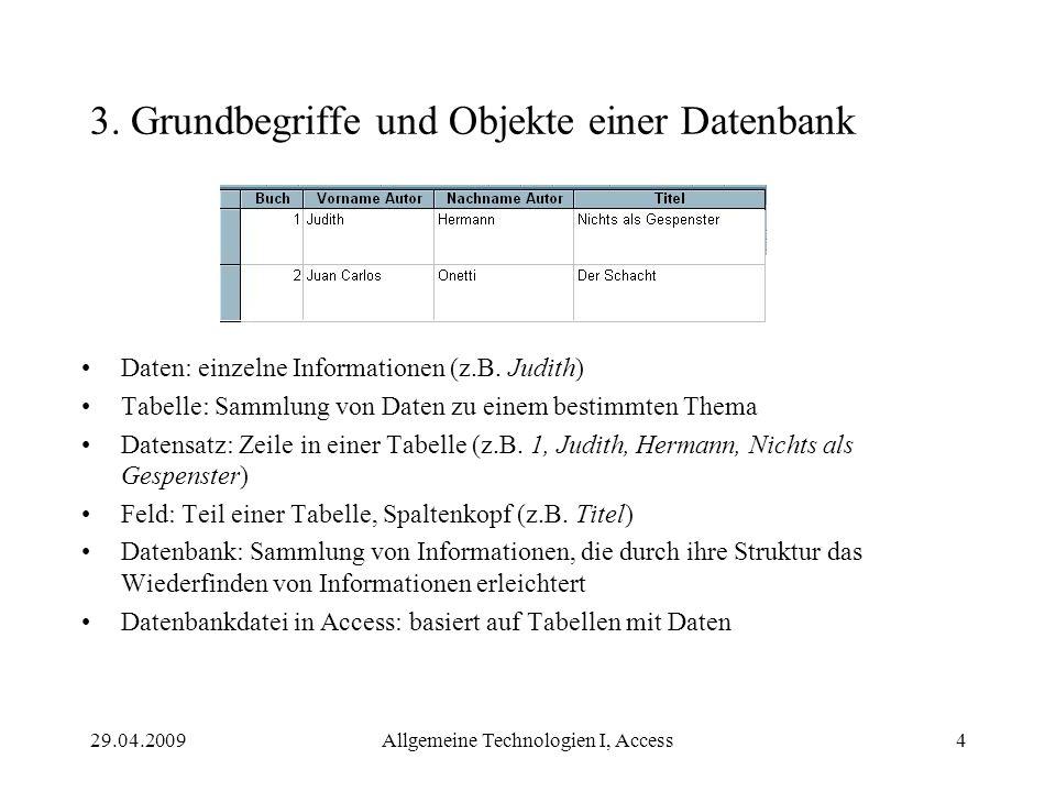 3. Grundbegriffe und Objekte einer Datenbank
