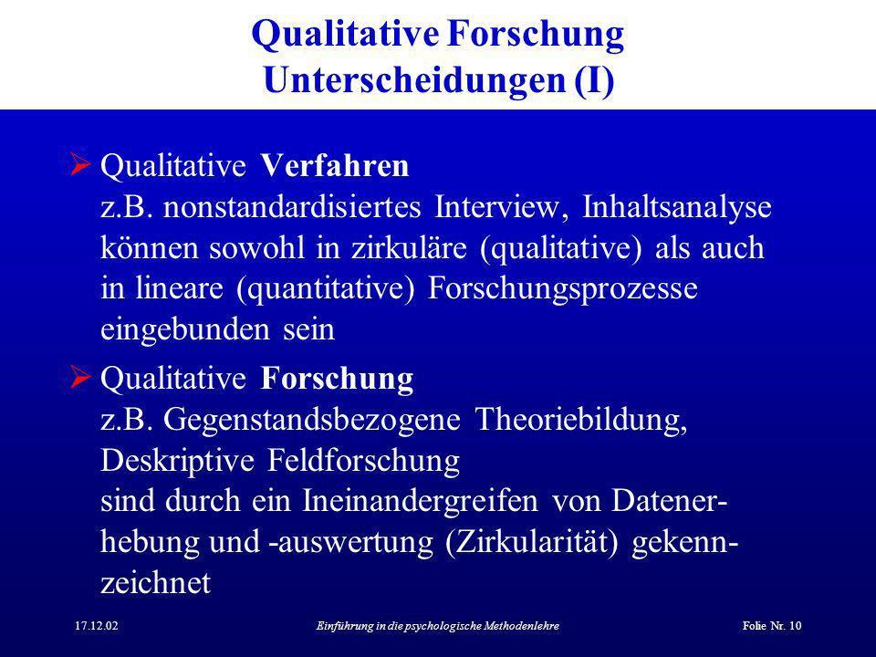 Qualitative Forschung Unterscheidungen (I)