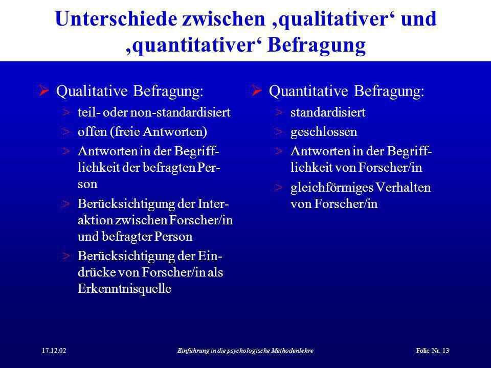 Unterschiede zwischen 'qualitativer' und 'quantitativer' Befragung