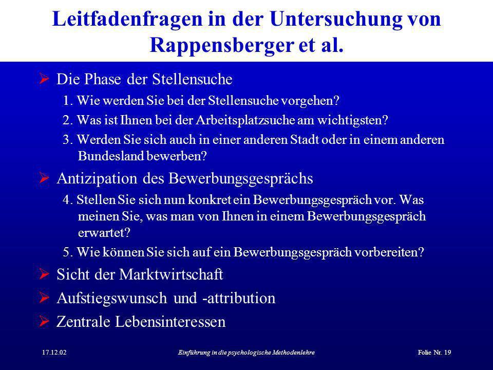 Leitfadenfragen in der Untersuchung von Rappensberger et al.