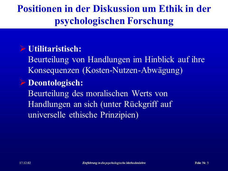 Positionen in der Diskussion um Ethik in der psychologischen Forschung