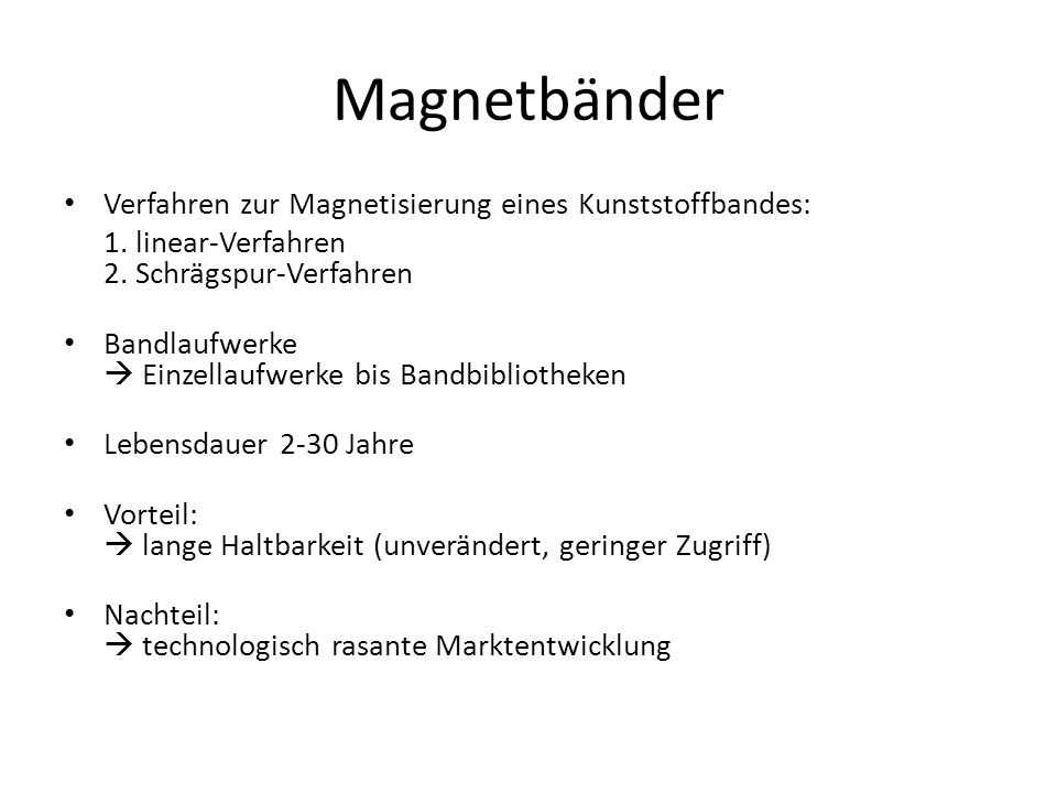 Magnetbänder Verfahren zur Magnetisierung eines Kunststoffbandes:
