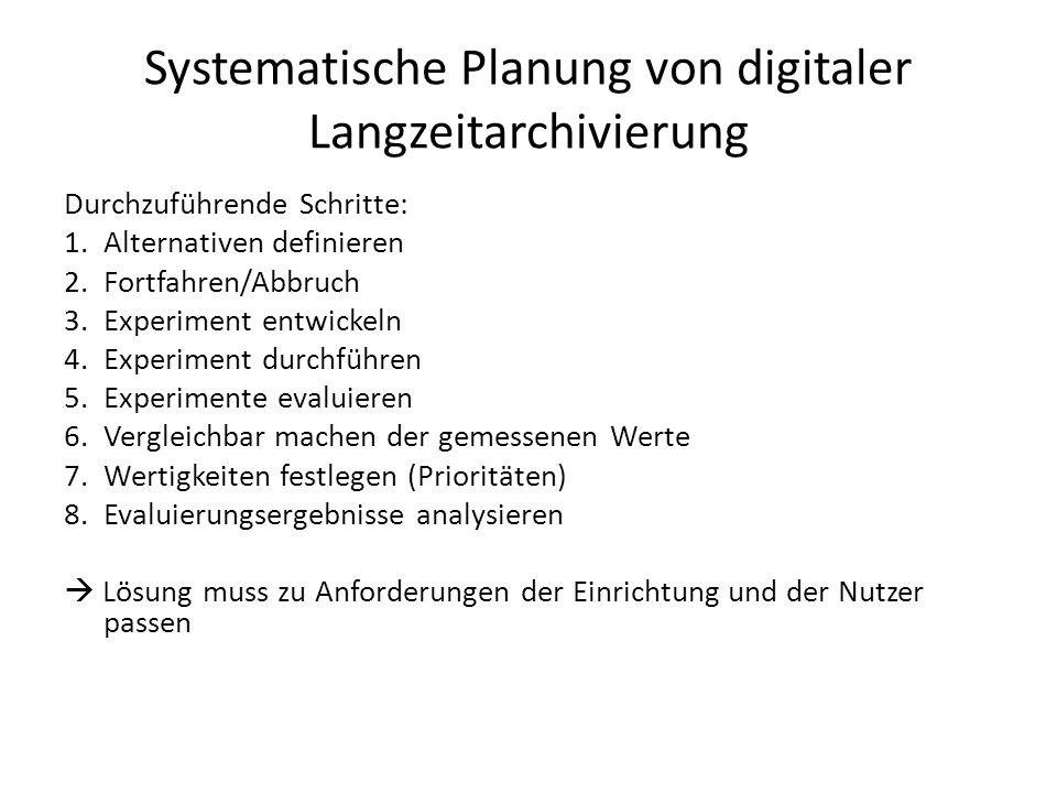 Systematische Planung von digitaler Langzeitarchivierung