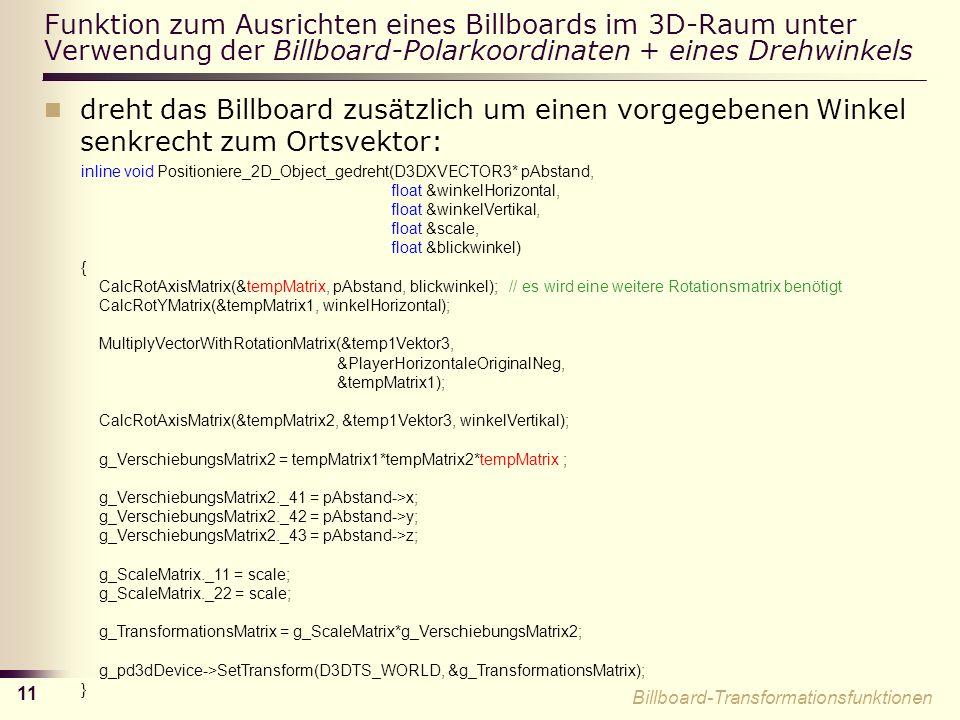 Funktion zum Ausrichten eines Billboards im 3D-Raum unter Verwendung der Billboard-Polarkoordinaten + eines Drehwinkels