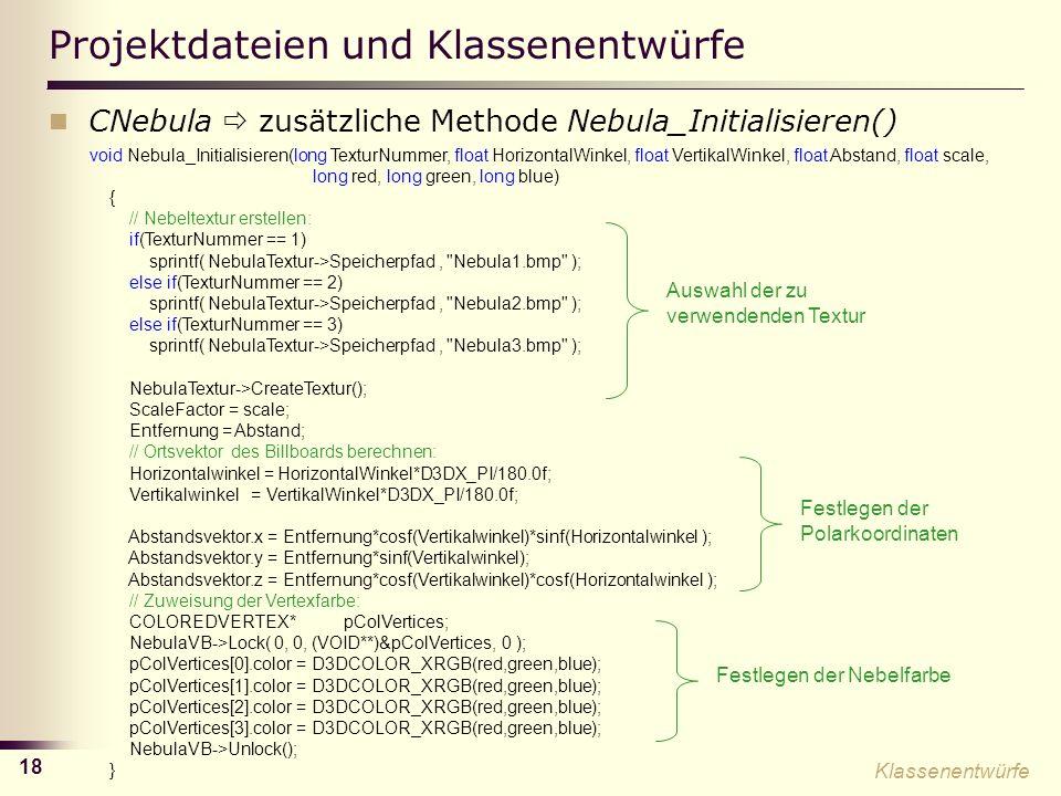 Projektdateien und Klassenentwürfe