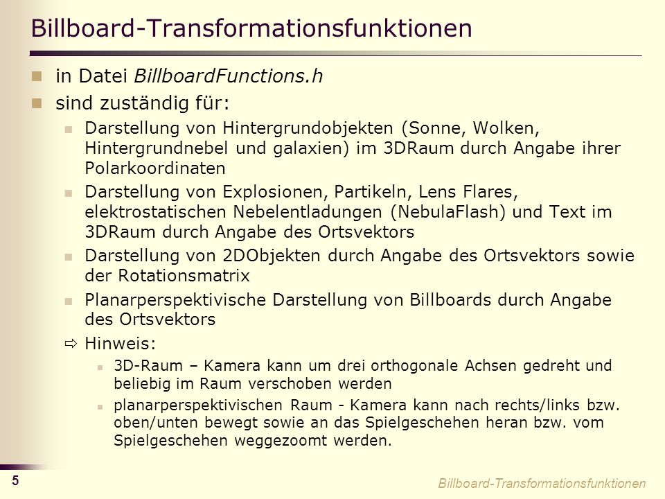 Billboard-Transformationsfunktionen