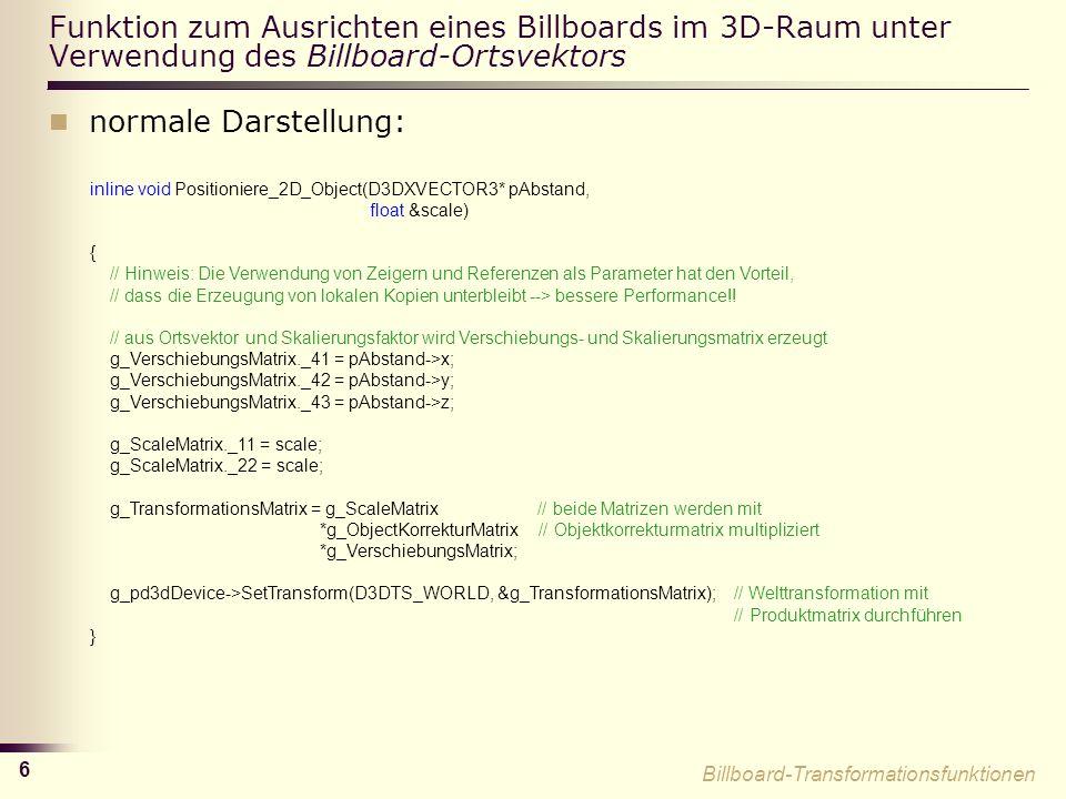 Funktion zum Ausrichten eines Billboards im 3D-Raum unter Verwendung des Billboard-Ortsvektors