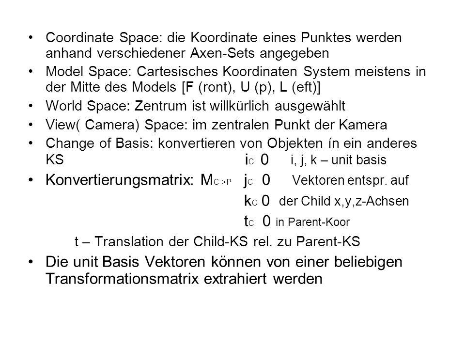 Konvertierungsmatrix: MC->P jC 0 Vektoren entspr. auf