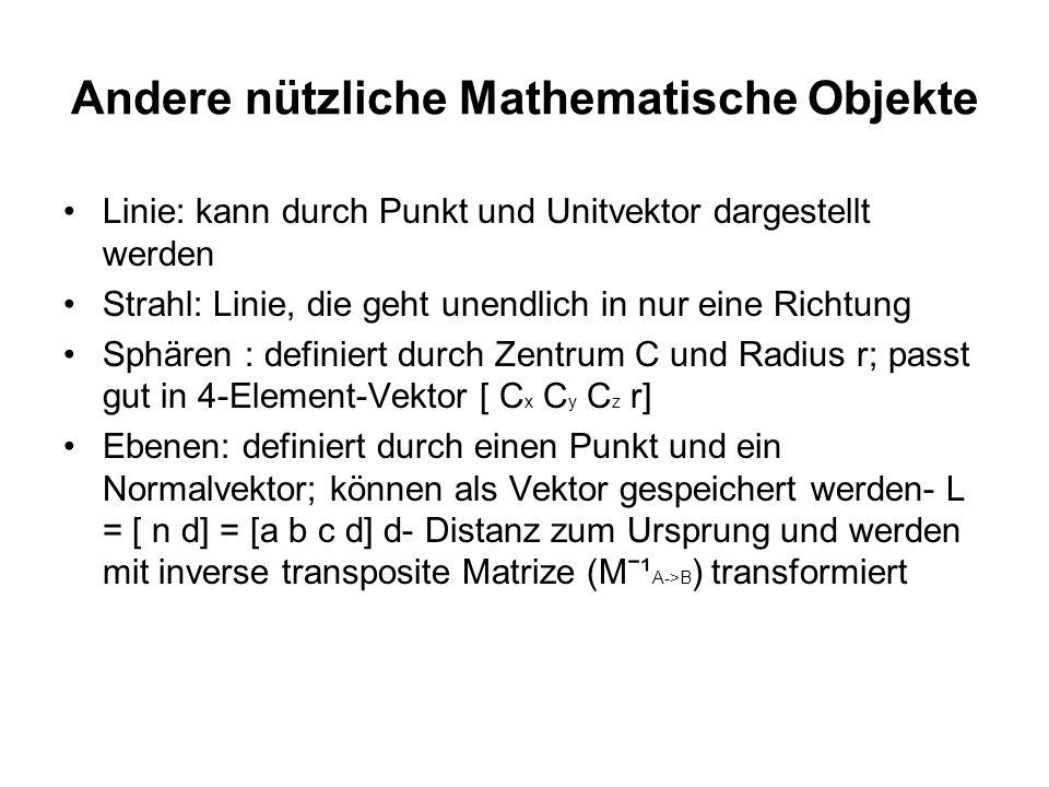 Andere nützliche Mathematische Objekte