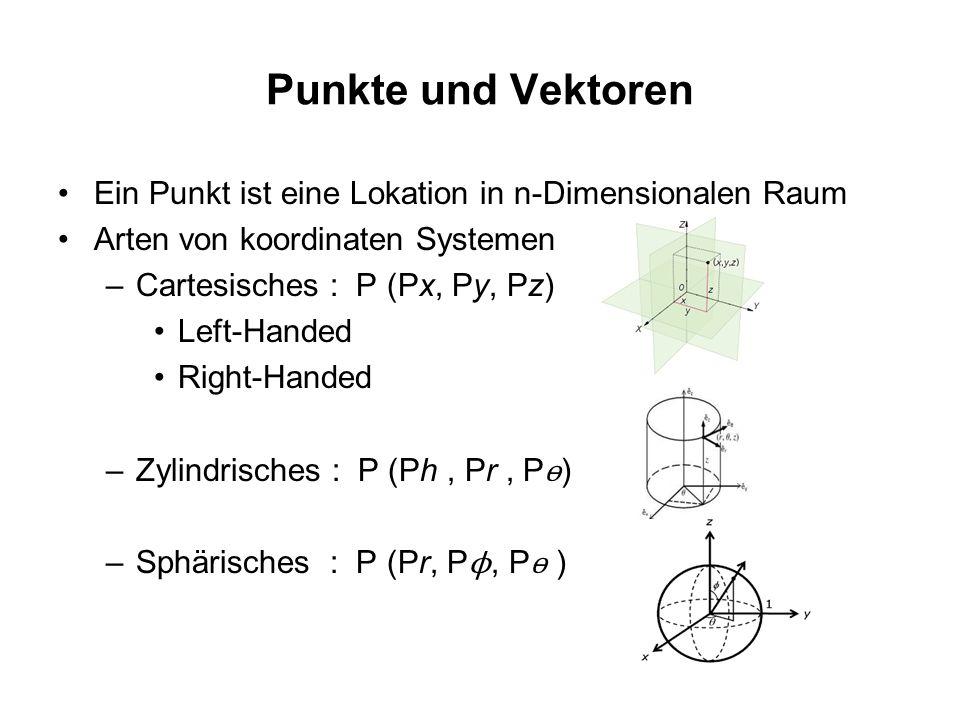 Punkte und Vektoren Ein Punkt ist eine Lokation in n-Dimensionalen Raum. Arten von koordinaten Systemen.