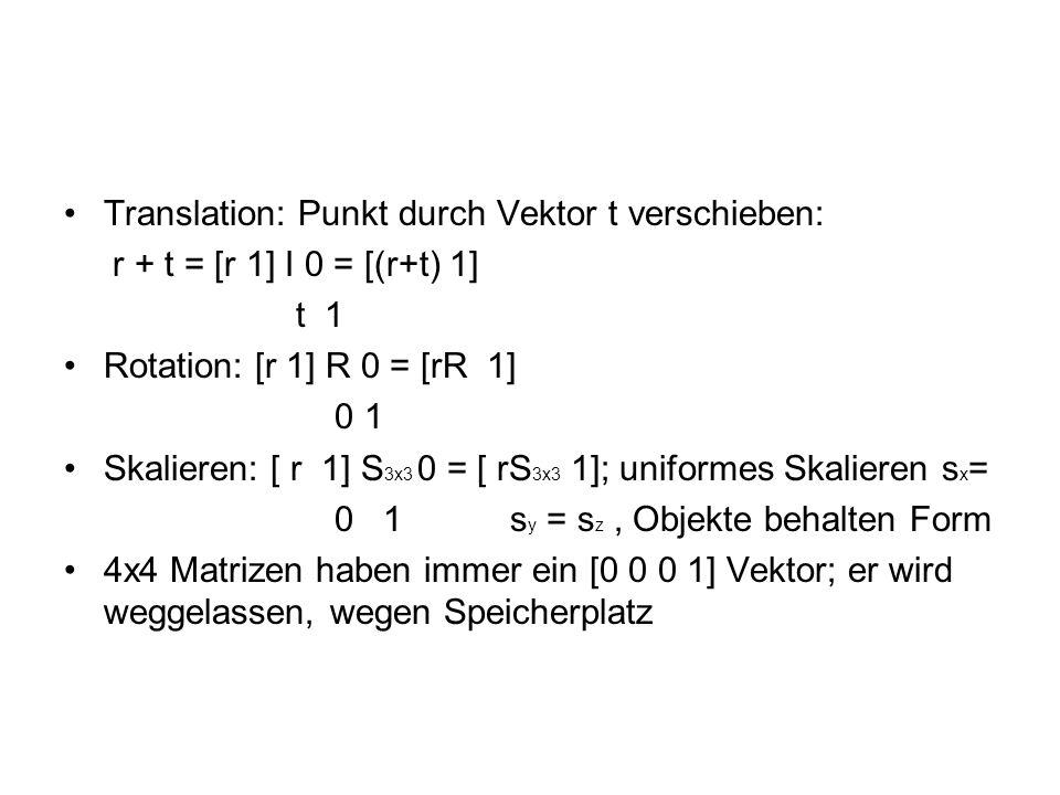 Translation: Punkt durch Vektor t verschieben: